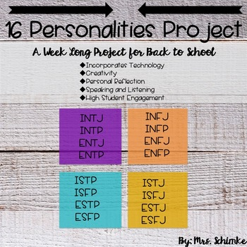 16 Personalities Personality Types Project By Mrs Schimke Tpt