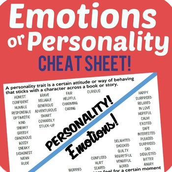 Personality Vs. Emotions Cheat Sheet Freebie