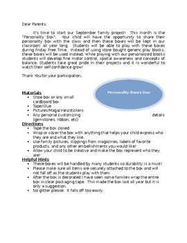 Personality box project letter