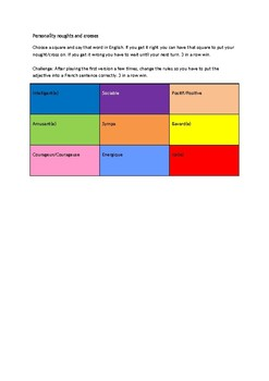 Personality noughts and crosses - French