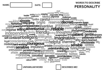 Personality words poster worksheet story narrative writing vocabulary characters