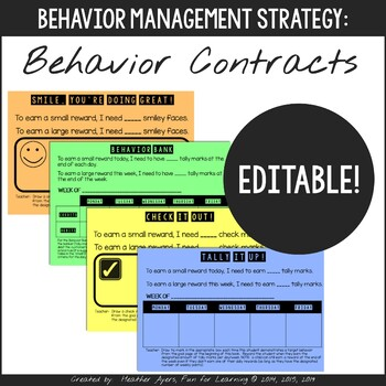 Editable Behavior Contracts For Elementary Students By Fun For Learning