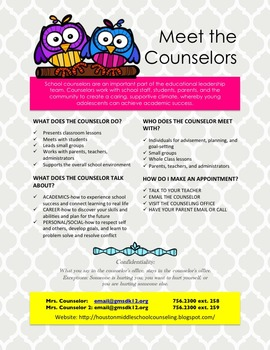 Personalized Counselor Flyers and Signs