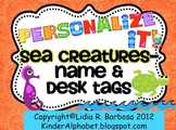 Personalize it! Sea Creatures theme Name and Desk Tags