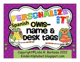 SPANISH Personalize it! Whootie Owls theme Name and Desk Tags