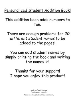 Personalized Addition Word Problem Book