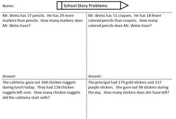 Personalized Addition and Subtraction Word Problems