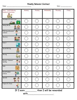 Personalized Behavior Chart for J Hamers