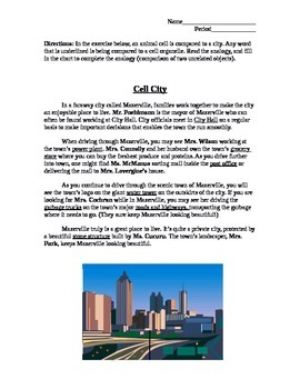 Personalized Cell City Analogy Worksheet