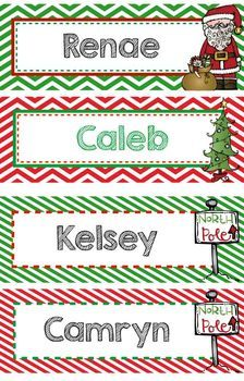 Personalized Christmas Bookmarks OR Name Plate, EDITABLE - Gift - Reward