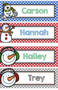 Personalized Christmas Bookmarks OR Name Plate - EDITABLE (Gift / Reward)