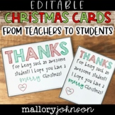 Editable Christmas Cards from teachers to students