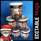 Personalized Christmas Gift for Students - DIY Editable Santa Mug - Color BW