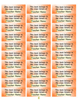 Personalized Classroom Library Book Labels - orange