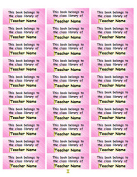 Personalized Classroom Library Book Labels - pink