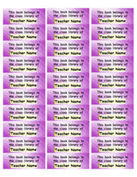Personalized Classroom Library Book Labels - purple