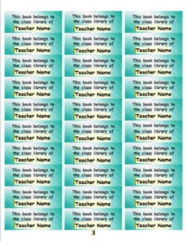 Personalized Classroom Library Book Labels - teal