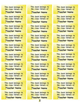 Personalized Classroom Library Book Labels - yellow