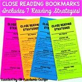 Close Reading Bookmarks for Middle School