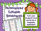 Personalized Editable Bookmarks Year End Keepsake, Bucket