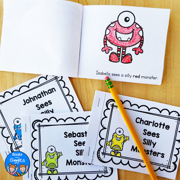 Personalized Emergent Readers - Monster Theme Name Books with Color Words