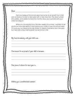 Personalized End of the Year Letter for Parents