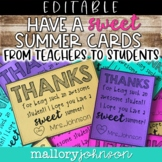Editable End of the Year Cards from teachers to students