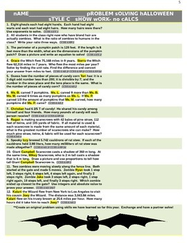 Halloween Personalized MATH Common Core Problem Solving Differentiated Activity