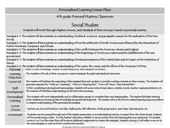 Personalized Learning Fourth Grade Lesson Plans South Carolina Standards