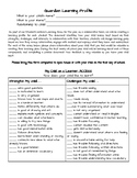 Personalized Learning: Parent Learning Profile Information Sheet