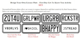 Personalized License Plates First Day Icebreaker Activity