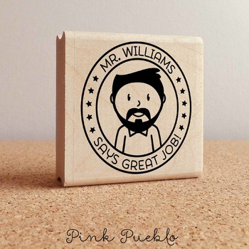 Personalized Male Teacher Rubber Stamp, Custom Teacher Stamp
