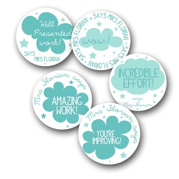 Personalized Merit Stickers - Cloudies
