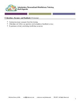 Personalized Mindfulness 101: Agenda / Professional Development Lesson Plan