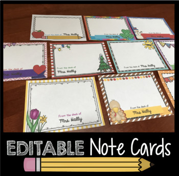 Personalized Note Cards - EDITABLE - Teacher Notes - Office - Nurse - Parents