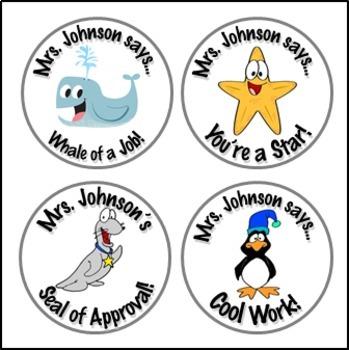 Ocean Stickers - Whale, Seal, Starfish, Penguin Personaliz