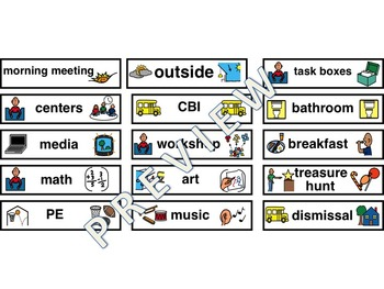 Personalized Picture Schedule Pieces for Students with Autism