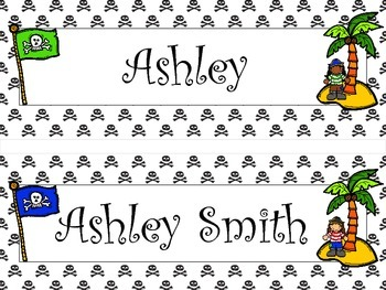 Personalized Pirate Flag and Palm Tree Theme Name Plates, Desk, and Cubby Tags