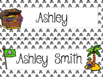 Personalized Pirate Theme Name Plates, Desk Tags, Cubby Tags - Variety Set