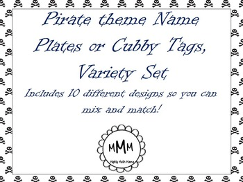 Personalized Pirate Theme Name Plates, Desk Tags, Cubby Ta