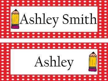 Personalized Polka Dot with pencil accent Name Plates/Desk Tags