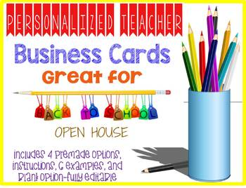 Personalized Printable Teacher Business Cards Open House Back to School