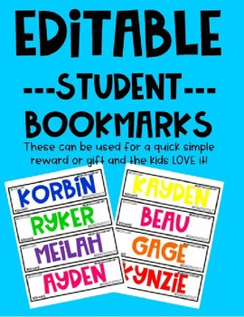 Personalized Student Bookmarks -Editable