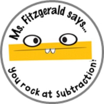Subtraction Math Achievement Stickers - Personalized For Y