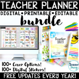 Teacher Binder Covers Editable 2018-2019 Teacher Planner