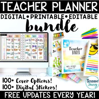 Teacher Planner 2018-2019 Editable Teacher Binder Covers
