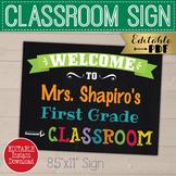 Personalized Teacher Classroom Welcome Sign, Printable Back to School Door Decor