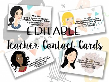 Personalized Teacher Contact Business Cards With Avatar Tpt