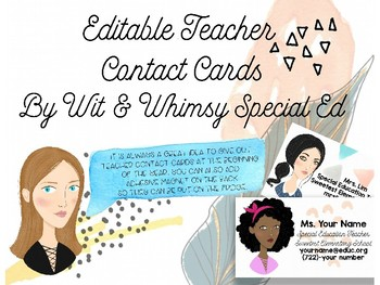 Personalized Teacher Contact Business Cards with Avatar