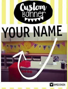 Personalized Teacher Name Banner - Rainbow Stripes